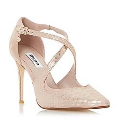 Dune - Metallic pointed toe cross strap court shoe