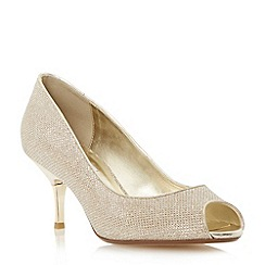 Dune - Metallic peep toe kitten heel court shoe