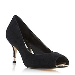 Dune - Black 'Denise' peep toe kitten heel court shoe
