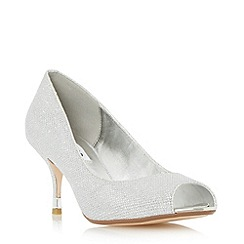 Dune - Silver 'Denise' peep toe kitten heel court shoe