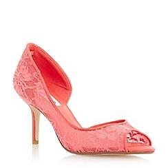 Dune - Pink semi d'orsay peep toe lace court shoe