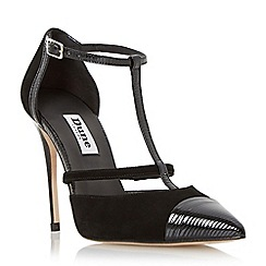 Dune - Black 'Dayna' t-bar two part high heel court shoe