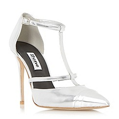 Dune - Silver 'Dayna' t-bar two part high heel court shoe