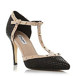 Dune - Black 'Cliopatra' studded t-bar court shoe