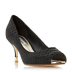 Dune - Black 'Debbi' peep toe mid heel court shoe