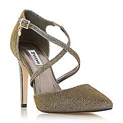 Dune - Gold 'Connie' cross strap two part court shoe