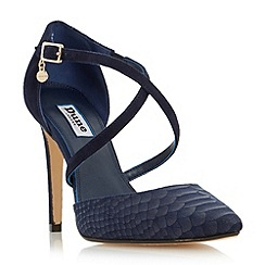Dune - Navy 'Connie' cross strap two part court shoe