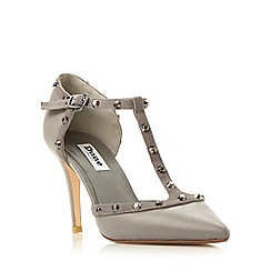 Dune - Grey 'Cliopatra' studded t-bar court shoe