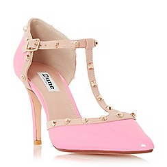 Dune - Pink 'Cliopatra' studded t-bar court shoe