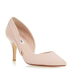 Dune - Neutral open side pointed toe mid heel court shoe