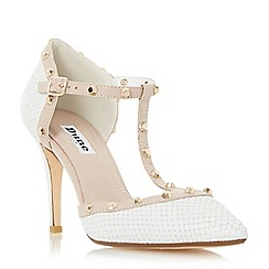 Dune - White 'Cliopatra' studded t-bar court shoe