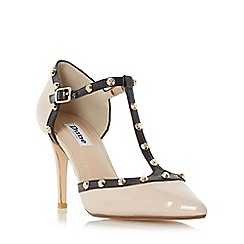 Dune - Natural 'Cliopatra' studded t-bar court shoe