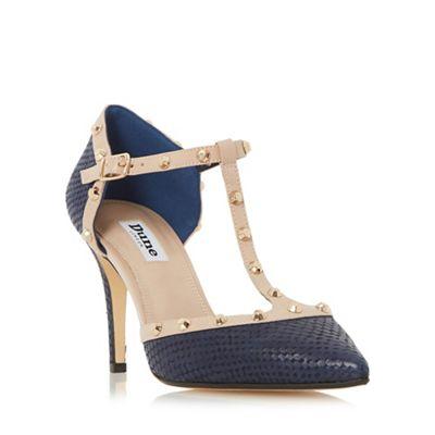 Dune Navy Cliopatra studded t-bar court shoe - . -