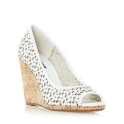Dune - White 'Cassie' floral peep toe wedge sandal