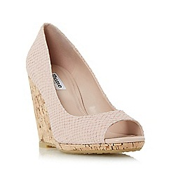Dune - Light pink 'Charlotte' cork effect wedge sandal