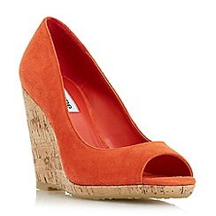 Dune - Orange 'Charlotte' cork effect wedge sandal