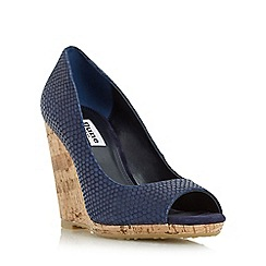 Dune - Navy 'Charlotte' cork effect wedge sandal