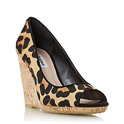 Dune - Multicoloured 'Charlotte' cork effect wedge court shoe