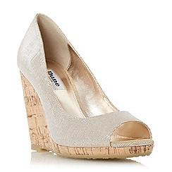 Dune - Gold 'Charlotte' cork effect wedge court shoe