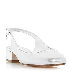 Dune - Silver 'Coco' slingback block heel court shoe