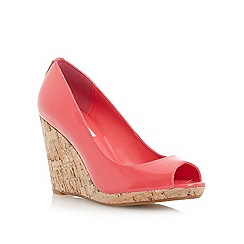 Dune - Pink cork wedge peep toe court shoe