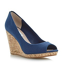 Dune - Blue cork wedge peep toe court shoe