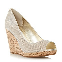 Dune - Metallic cork wedge peep toe court shoe