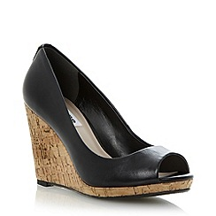 Dune - Black cork wedge peep toe court shoe