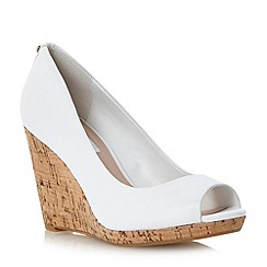 Dune - Neutral cork wedge peep toe court shoe