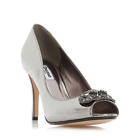 Dune - Silver +Dolley+ jewel trim peep toe court shoe