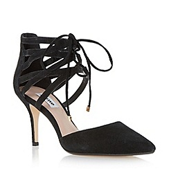 Dune - Black two part lace up court shoe