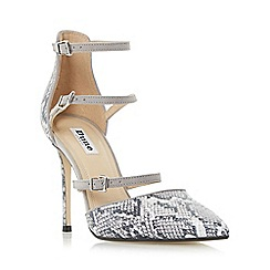 Dune - Grey 'Catarina' triple strap two part heeled court shoe