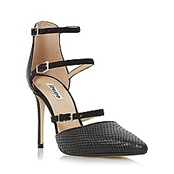 Dune - Black 'Catarina' triple strap two part heeled court shoe