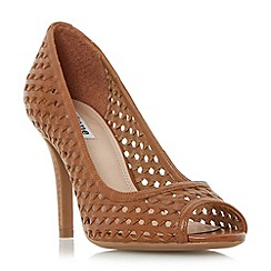 Dune - Tan 'Claudette' woven peep toe court shoe