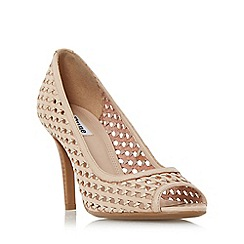 Dune - Natural 'Claudette' woven peep toe court shoe