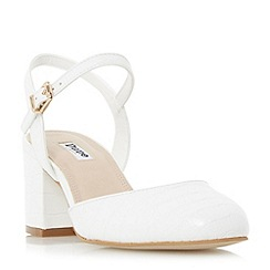 Dune - White 'Cierra' two part block heel court shoe