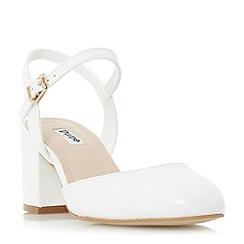 Dune - White 'Cierra' two part block heel court shoe