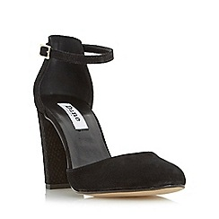 Dune - Black 'Cairo' two part suede block heeled court shoe