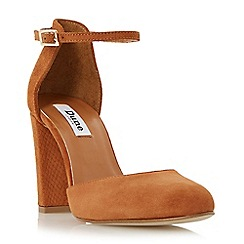 Dune - Tan 'Cairo' two part suede block heeled court shoe