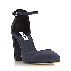 Dune - Navy 'Cairo' two part suede block heeled court shoe