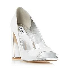 Dune - Silver 'Dixi' flared block heel peep toe court shoe