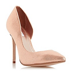 Dune - Rose 'Clarah' metallic semi d orsay court shoe