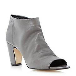 Dune - Grey soft leather peep toe ankle boot