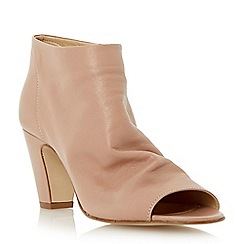 Dune - Neutral soft leather peep toe ankle boot