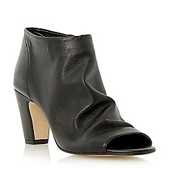 Dune - Black soft leather peep toe ankle boot