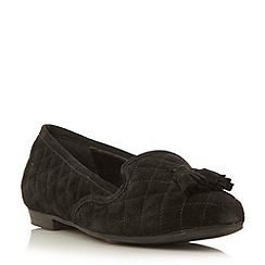 Dune - Black suede tassel detail quilted loafer