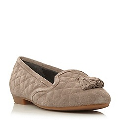 Dune - Grey suede tassel detail quilted loafer
