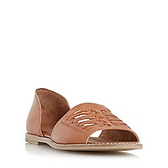 Dune - Tan 'Glacie' two part leather huarache sandal
