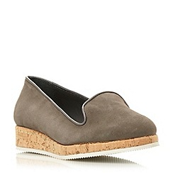 Dune - Grey 'Garnett' cork effect flatform loafer