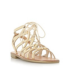 Dune - Gold 'Louella' lace up leather gladiator sandal